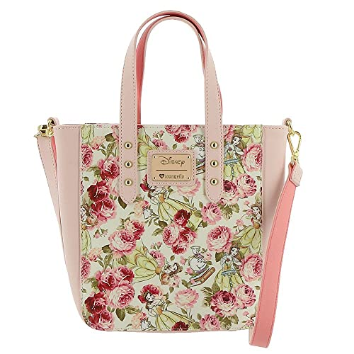 2af85dfcd48c Loungefly Disney Beauty And The Beast Character Tote Bag Pink-Multi-Floral