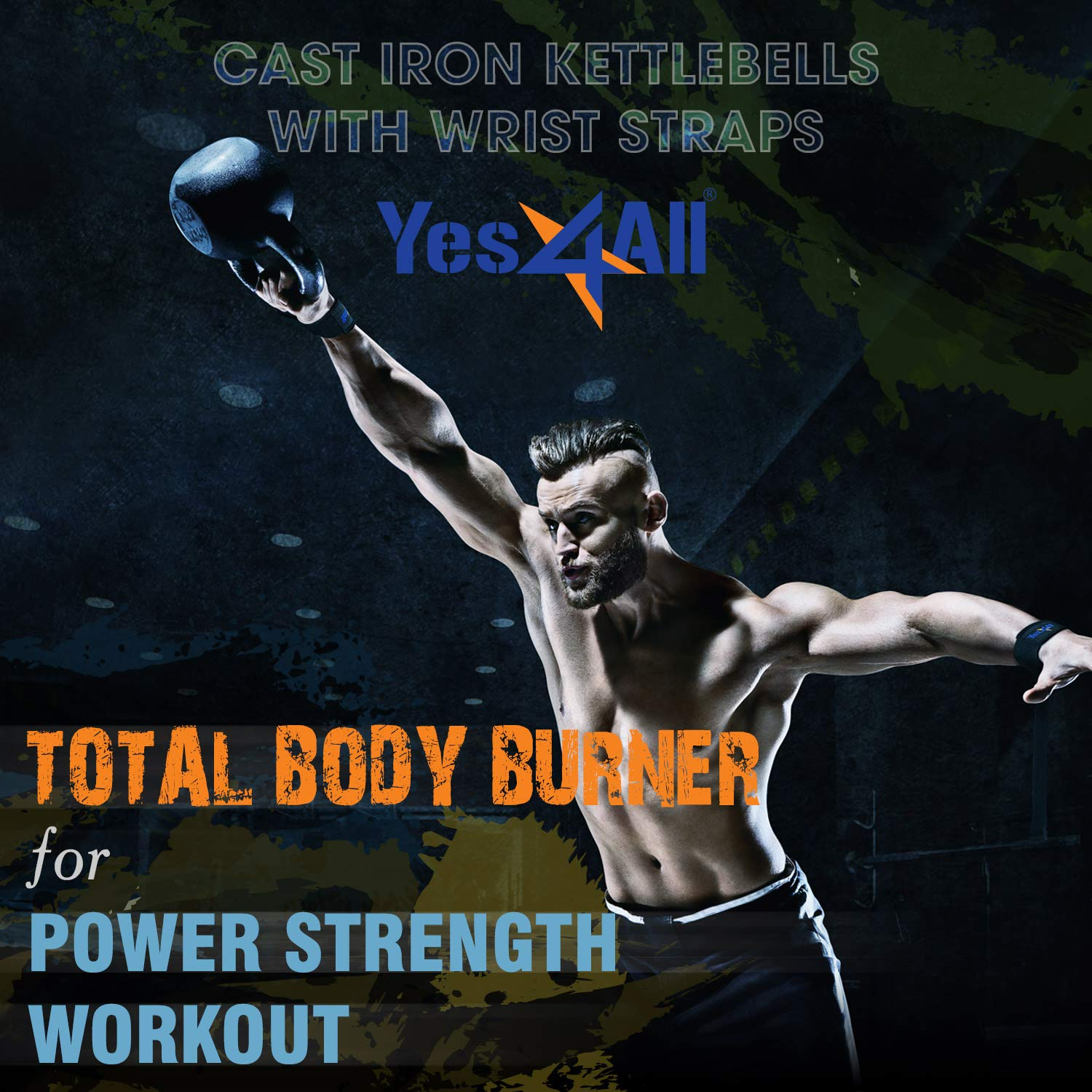 Yes4All Solid Cast Iron Kettlebell Weights Set – Great for Full Body Workout and Strength Training by Yes4All (Image #7)