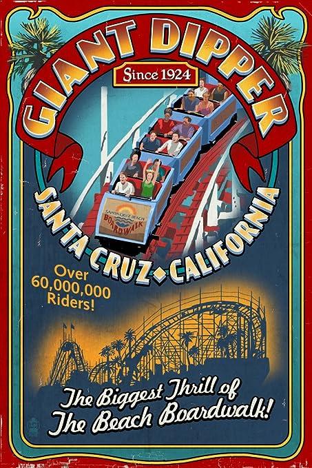 Santa Cruz Beach Boardwalk CA LP Artwork Posters, Wood /& Metal Signs