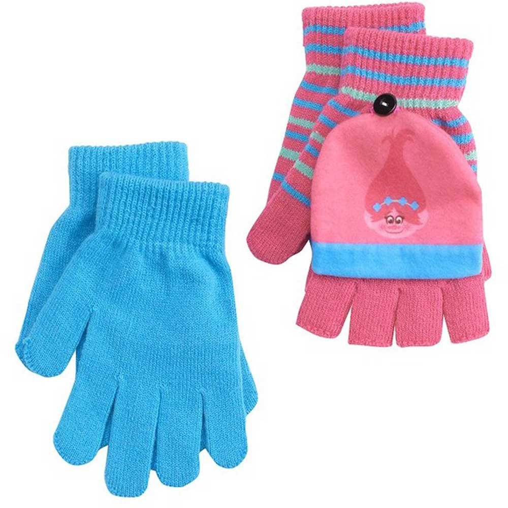 DreamWorks Trolls Girls Poppy 2pk Convertible Flip-Top Fingerless Gloves OS