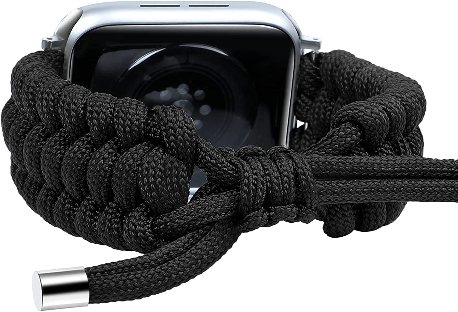 Fun Gaau Nylon Braided Compatible Black Apple Watch Band 42mm 44mm Paracord Adjustable Woven Strap for iwatch Series 6/5/4/3/2/1 Replacement Wristband