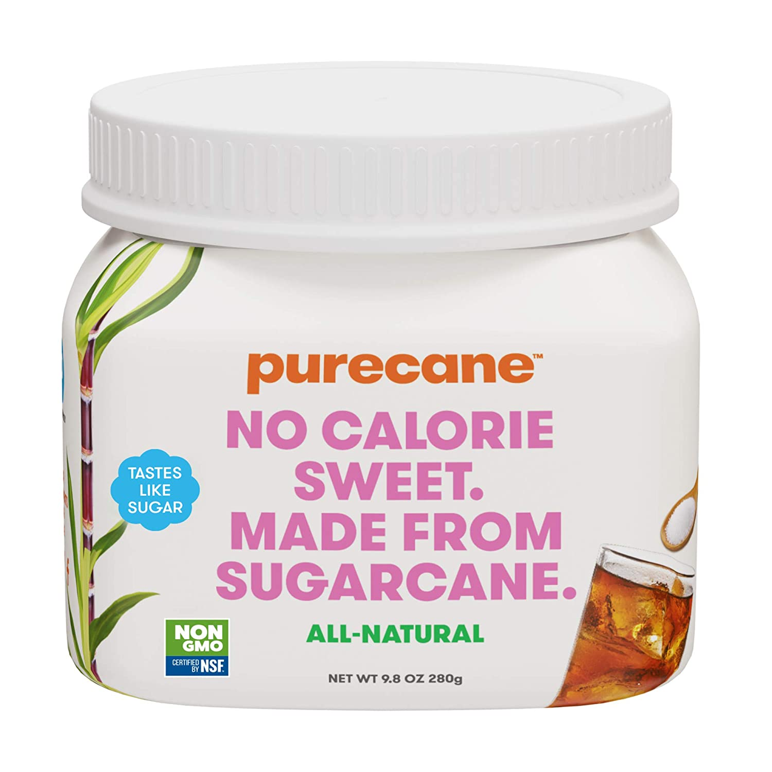 Purecane Sugar Substitute | Zero Calorie Sweetener | Made from All Natural Sugar Cane | Diabetes-friendly | Keto-friendly | Gluten-free | Spoonable Family Canister 9.8oz