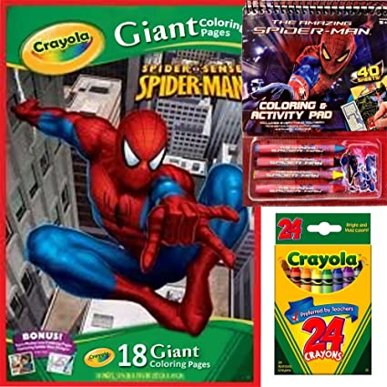 6 CRAYONS SET*PARTY ACTIVITY//CRAFT @ LOT OF 2 SPIDER-MAN COLORING CANVAS BOARD