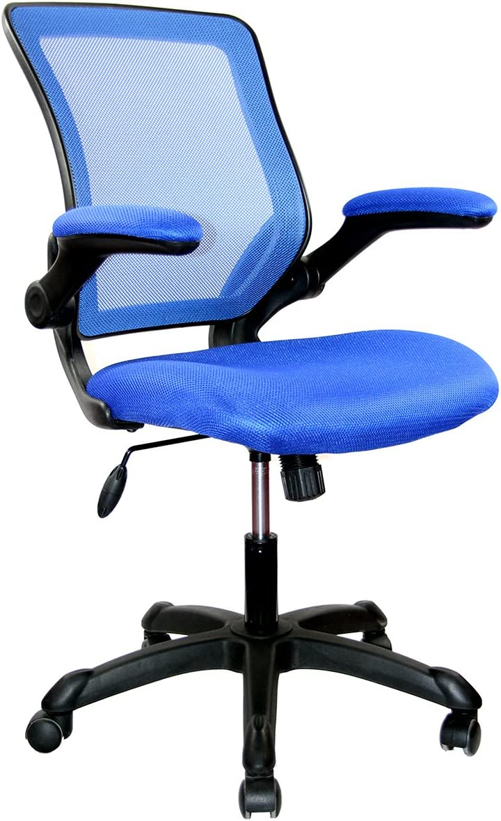 Mesh Task Office Chair With Flip Up Arms Color Blue Furniture Decor