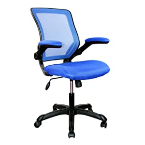 Mesh Task Office Chair with Flip Up Arms. Color: Blue