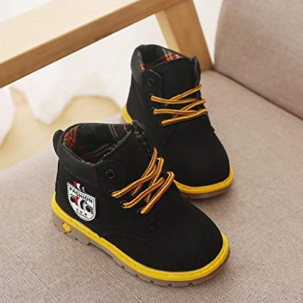 Children Kids Boys Girls Leather Martin Shoes Winter Warm Fur Ankle Boots Shoes