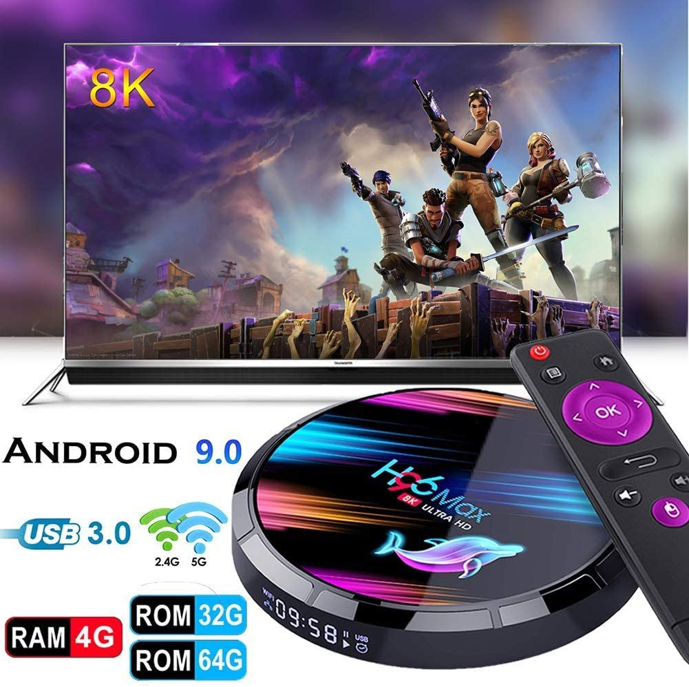 Erommy Smart TV Box Android 9.0 TV Box Smart Player 4GB RAM 64GB ROM 3D/ 8K Ultra HD/H.265/2.4GHz WiFi/USB 3.0/ Android Media Box: Amazon.es: Electrónica