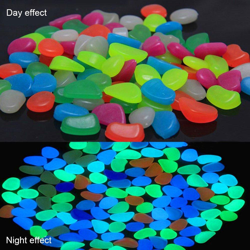 Piedras luminosas decorativas para jardín, brillan en la oscuridad, para paseos, patios, parques y peceras, decoración de macetas, 100 o 200 unidades, ...