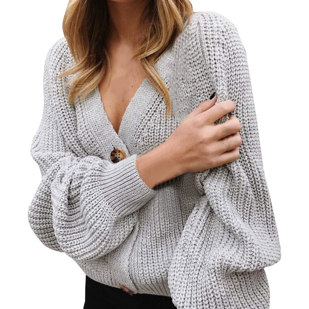Dainzuy Womens Knit Sweater Batwing Puff Sleeve Lantern Button Down V Neck Cardigan Short Loose Sweatshirt Coat