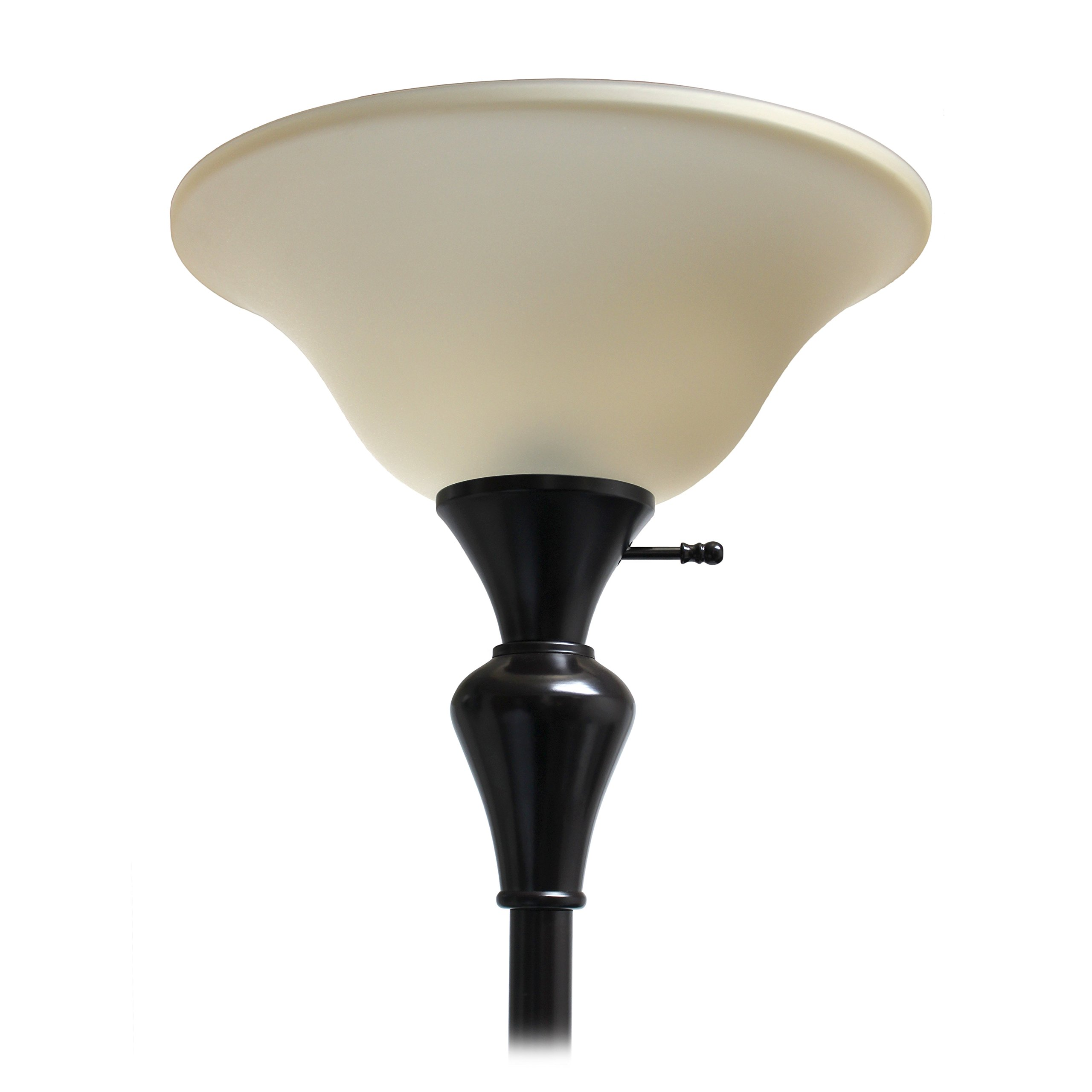 Elegant Designs LF2008-RBZ 1 Light Torchiere Floor Lamp w/Frosted Plastic Shade, Restoration Bronze