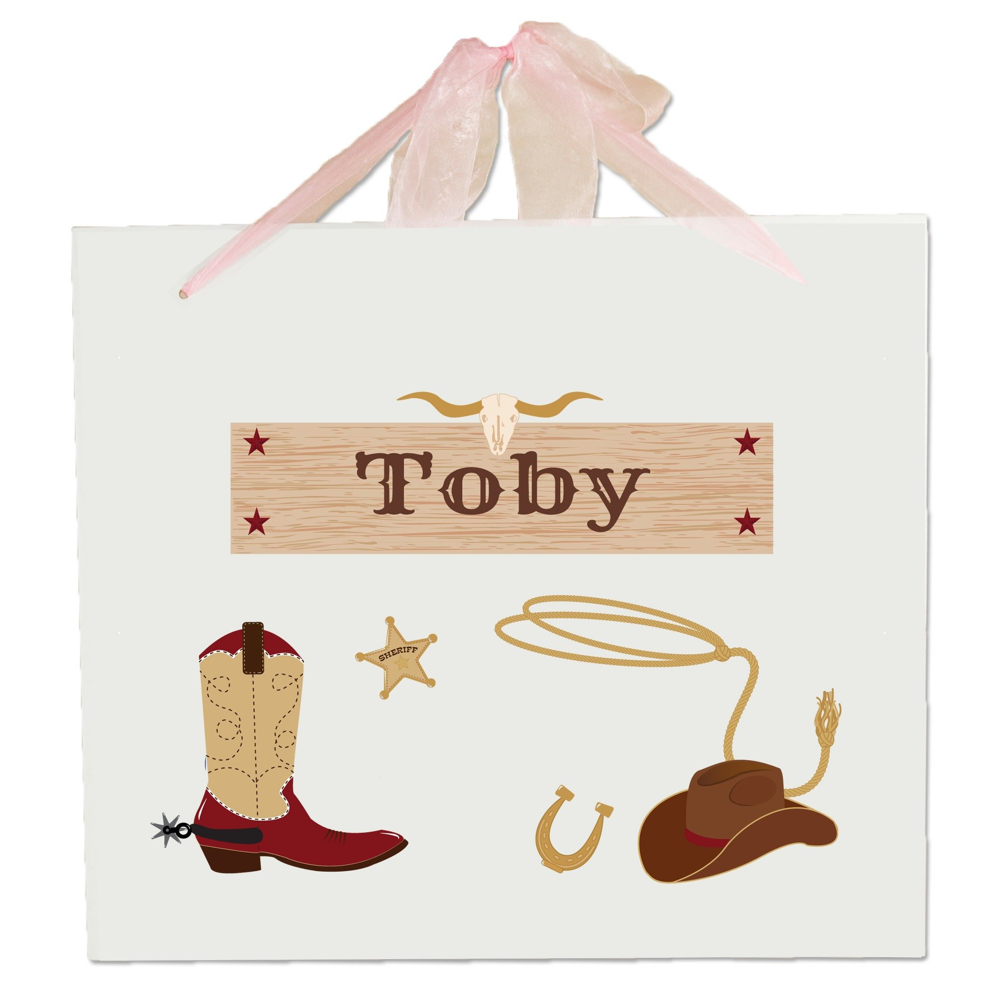 Personalized Wild West Wooden Wall Hanger With Pink Ribbon