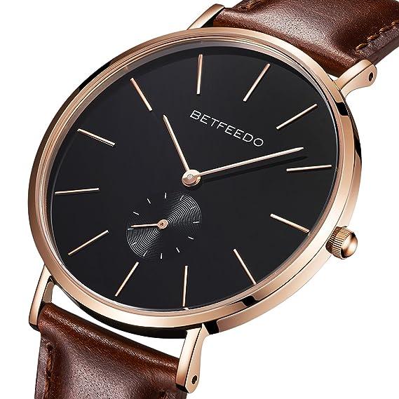 betfeedo Negro Minimalista Reloj de Hombre, Cuarzo clásico Casual Correa de Piel Relojes con Banda, Dial de cerámica: Amazon.es: Relojes