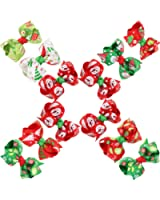 CeeDeek Baby Girl's Barrette Colorful Hairpin Boutique Hair Bow Clips Packs of 12