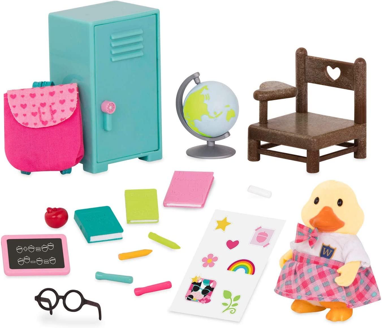 Furniture Miniature Figurines and Playsets for Kids Age 3+ and School Accessories Lil Woodzeez WZ6540Z Li/'l Woodzeez 16pc Toy Set with Animal Character