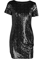 Futurino Women's Sexy Crewneck Sequin Bodycon Sparkle Party Sheath Mini Dress