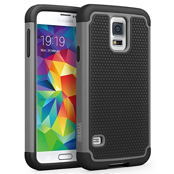 huge selection of 89761 2fcfc Galaxy S5 Case, SYONER [Shockproof] Hybrid Rubber Dual Layer Armor Defender  Protective Case Cover for Samsung Galaxy S5 SV I9600 [Gray/Black]