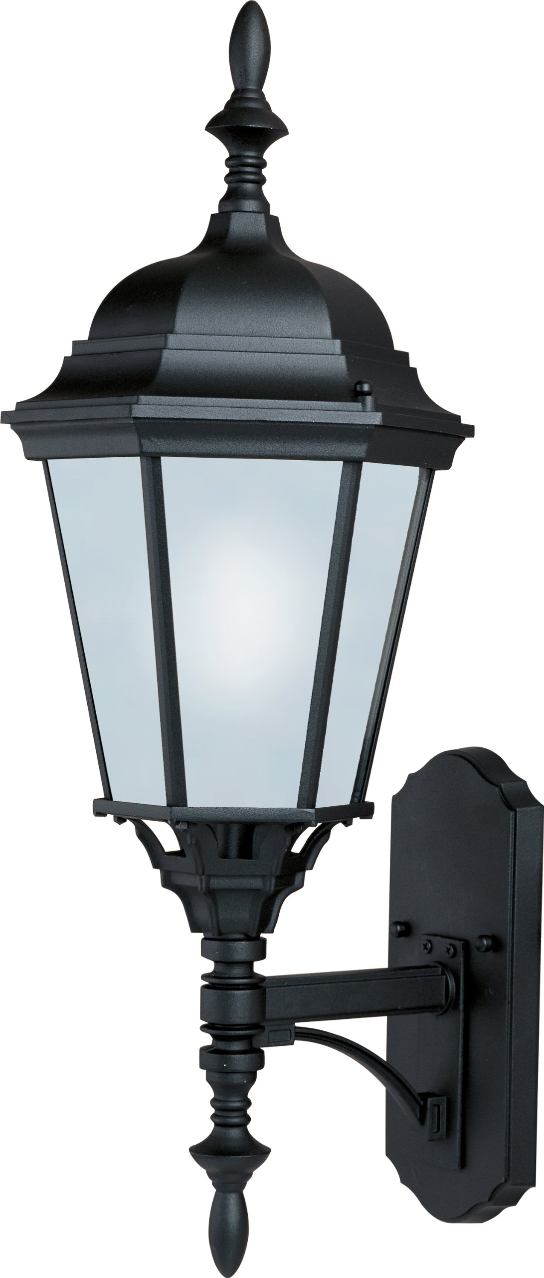 Maxim 85103BK Westlake EE 1-Light Outdoor Wall Lantern, Black Finish, Frosted Glass, GU24 Fluorescent Fluorescent Bulb , 60W Max., Dry Safety Rating, Standard Dimmable, Glass Shade Material, 1344 Rated Lumens