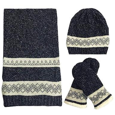 FEOYA Femme Homme Ensemble 3 Pcs Bonnet Echarpe Gants Tricoté Hiver Chaud  Doux Elastique Cadeau Noël 6efc523f22d