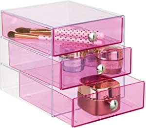 "iDesign Plastic 3-Drawer Jewelry Box, Compact Storage Organization Drawers Set for Cosmetics, Dental Supplies, Hair Care, Bathroom, Office, Dorm, Desk, Countertop, 6.5"" x 6.5"" x 6.5"", Pink"