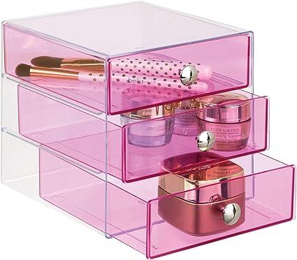 Interdesign Drawers Organisateur Maquillage Boite De Rangement En Plastique Pour Cosmetiques Maquillage Etc Boite Tiroir A 3 Tiroirs Rose Amazon Fr Cuisine Maison