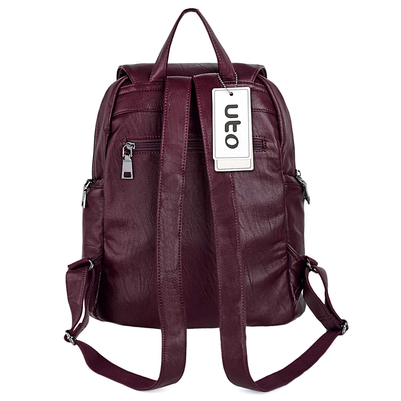 UTO Women Backpack Purse PU Washed Leather Large Capacity Ladies Rucksack Shoulder Bag