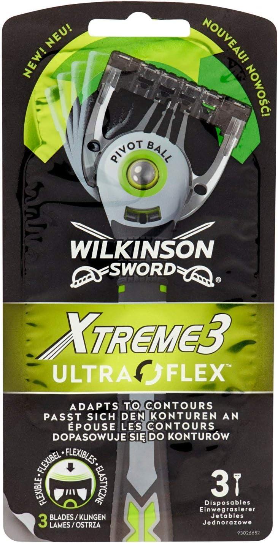 Wilkinson Sword Xtreme 3 Ultra Flex - Maquinillas de Afeitar Desechables Ultra Flexibles de 3 Hojas para Hombres, Cabezal Pivotante, Pack 5 x 3 Maquinillas: Total 15 Unidades