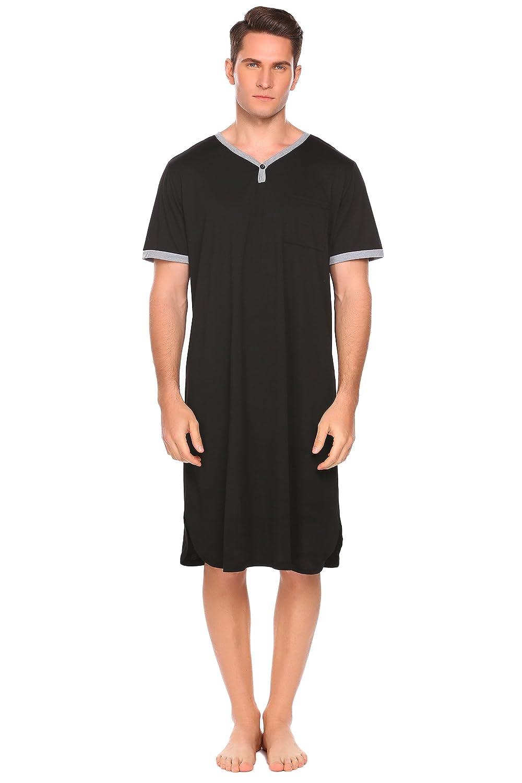 Ekouaer Mens Cotton Nightshirts Long Nightgowns Soft Sleepwear Henley Sleep Shirt M-XXXL **EKV006713