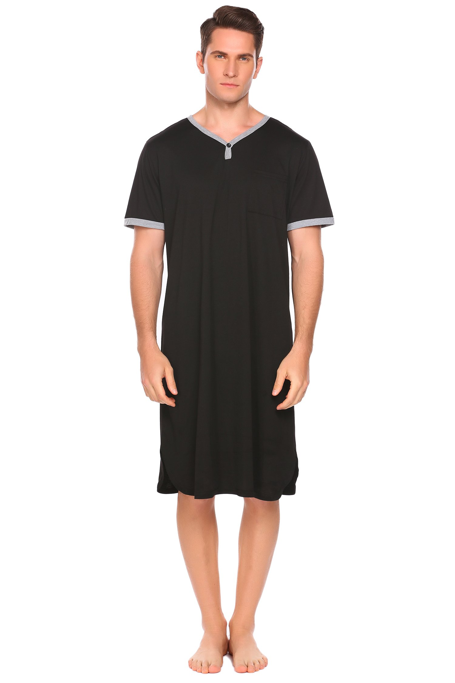 Ekouaer Mens Nightshirt, Viscose Long Sleep Shirt (Black, Medium
