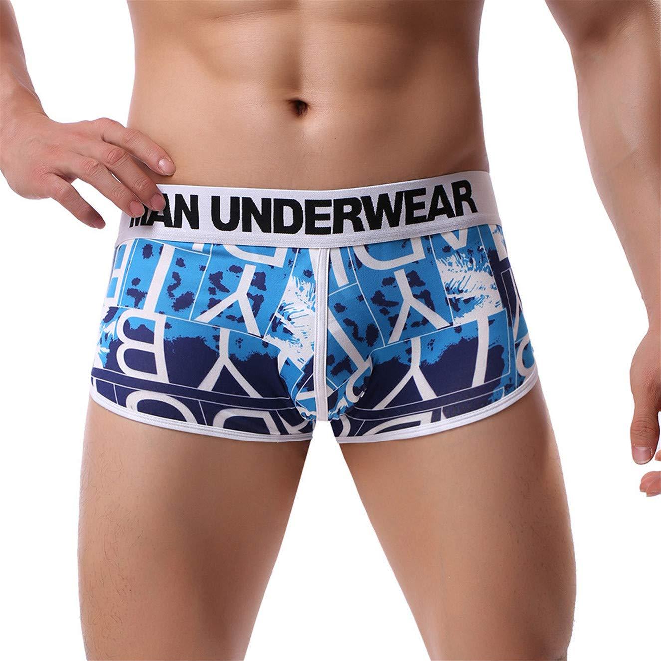 TIFENNY 2019 New Men's Printing Soft Briefs Fashion Underpants Knickers Shorts Sexy Underwear Blue