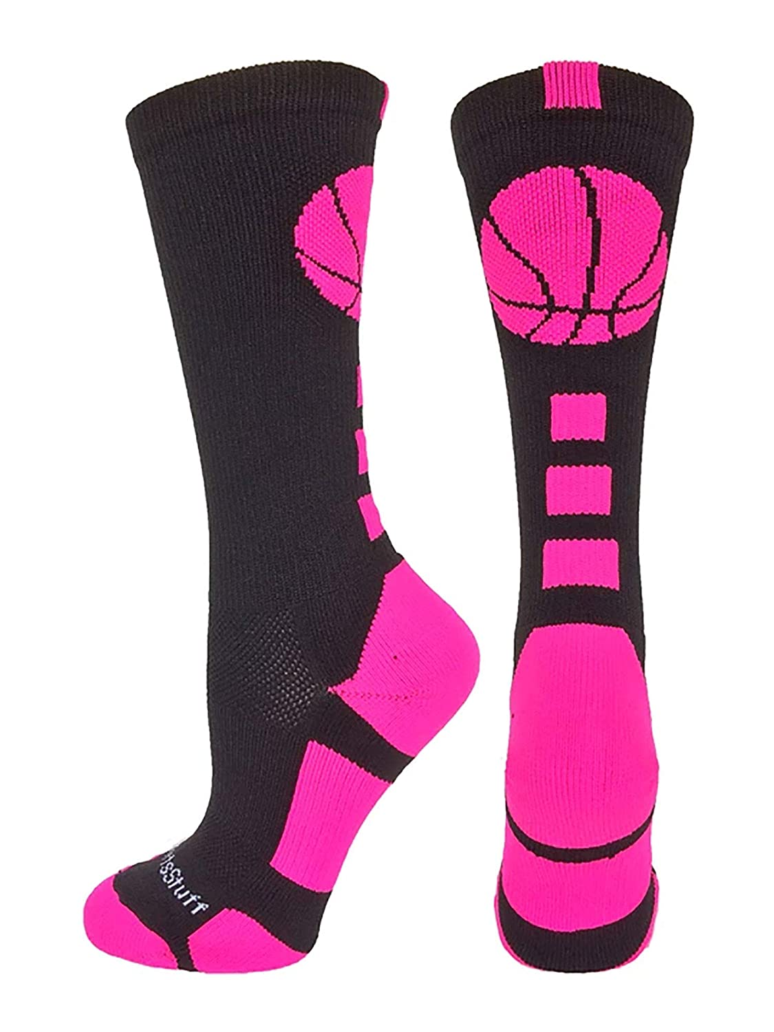 MadSportsStuff Basketball Socks with Basketball Logo Athletic Crew Socks - Made in The USA