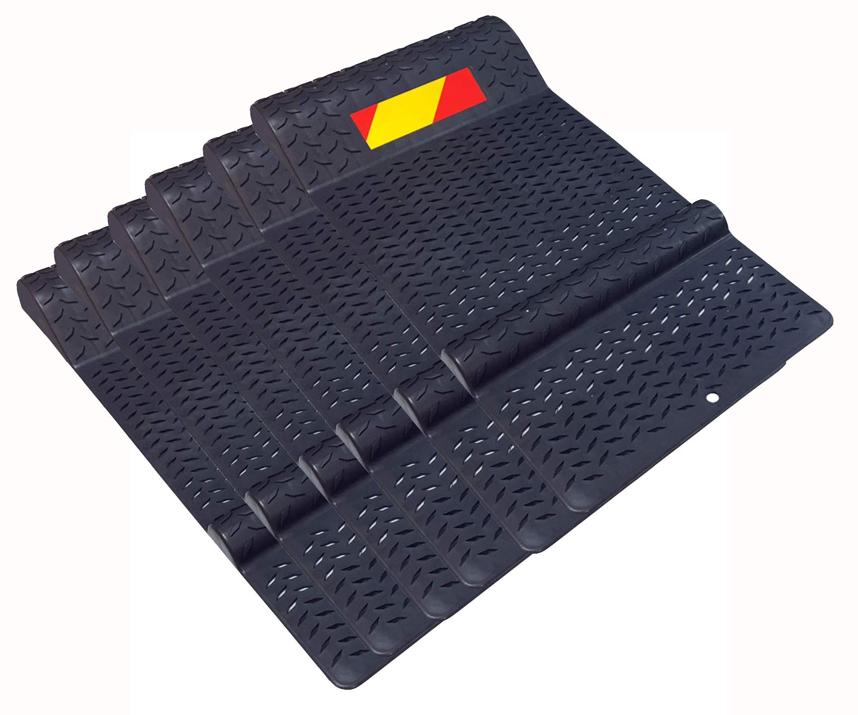 Electriduct Pack of 6 Plastic Park Right Parking Mat Guides for Garage Vehicles, Antiskid Car Safety - Black