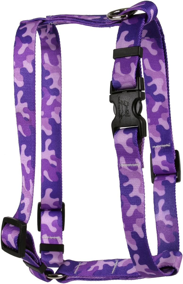 Yellow Dog Design Camo Purple Roman Style H Dog Harness