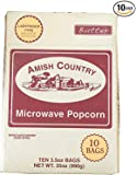 Amish Country Popcorn - Microwave Ladyfinger Butter - Old Fashioned Microwave Popcorn - All Natural, Gluten Free, and Non GMO (10 Bags)- with Recipe Guide and 1 Year Freshness Guarantee
