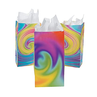 Tie Dye Paper Bags for Party - Party Supplies - Bags - Paper Treat Bags - Party - 12 Pieces: Toys & Games
