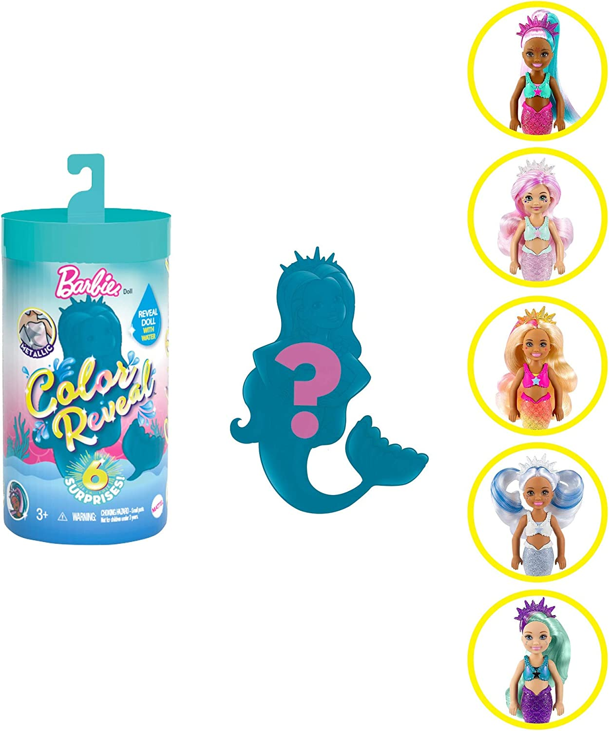 Barbie Color Reveal Chelsea Mermaid Doll with 6 Surprises 3 Mystery Bags Contain a Snap-On Bodice, Crown & Fin Comb; Mermaid-Themed; Gift for Kids 3 Years & Older
