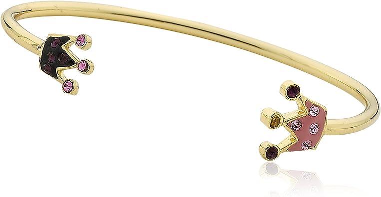 Molly Glitz Pretty Princess 14k Gold-Plated Hot Pink /& Pink Crystal Crown Snake Bangle