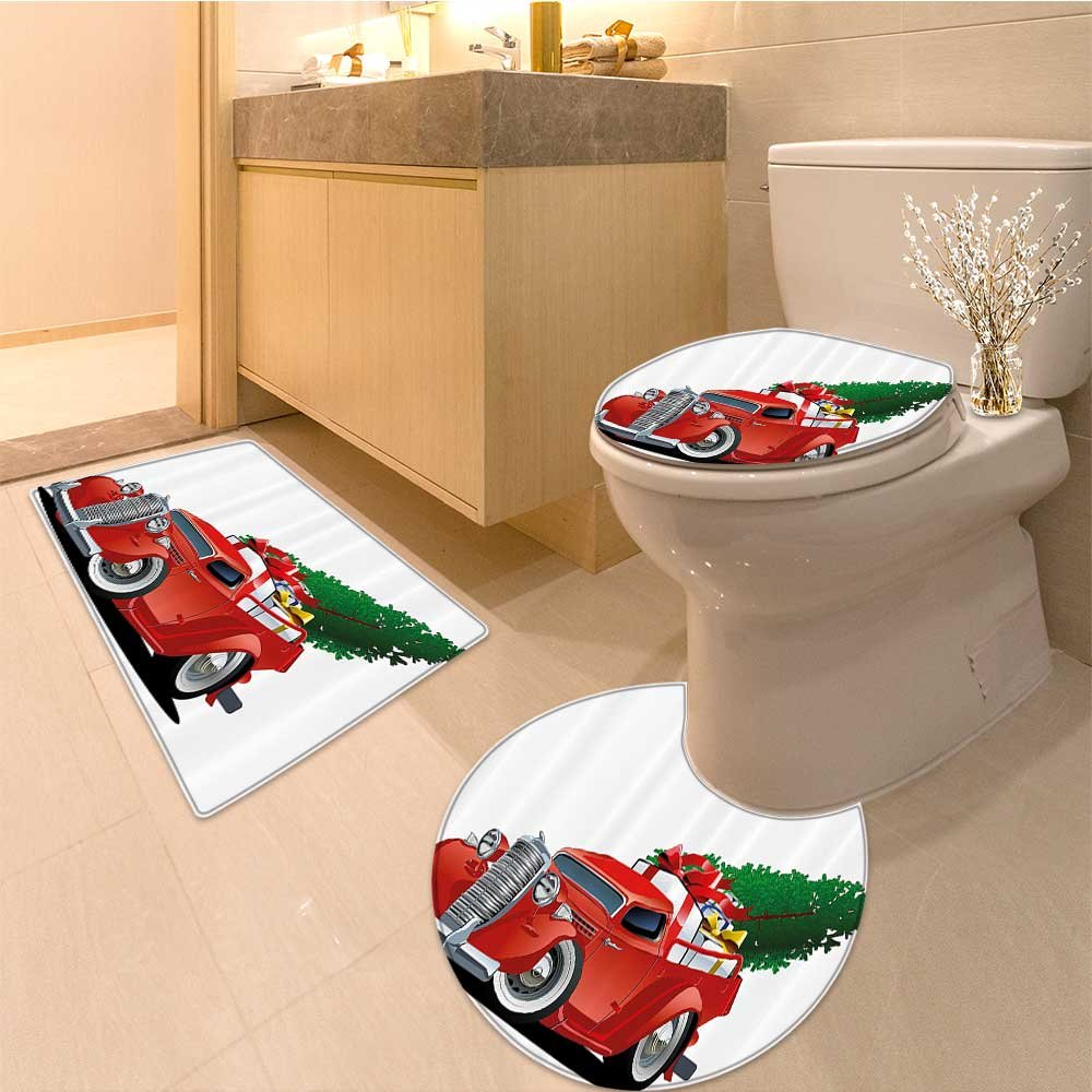 3 Piece large Contour Mat set Vintage Print Santa on Motor Bike with Red Helmet Xmas Tree in Sno Fabric with Hooks Bathroom Rugs Contour Mat Lid Toilet Cover