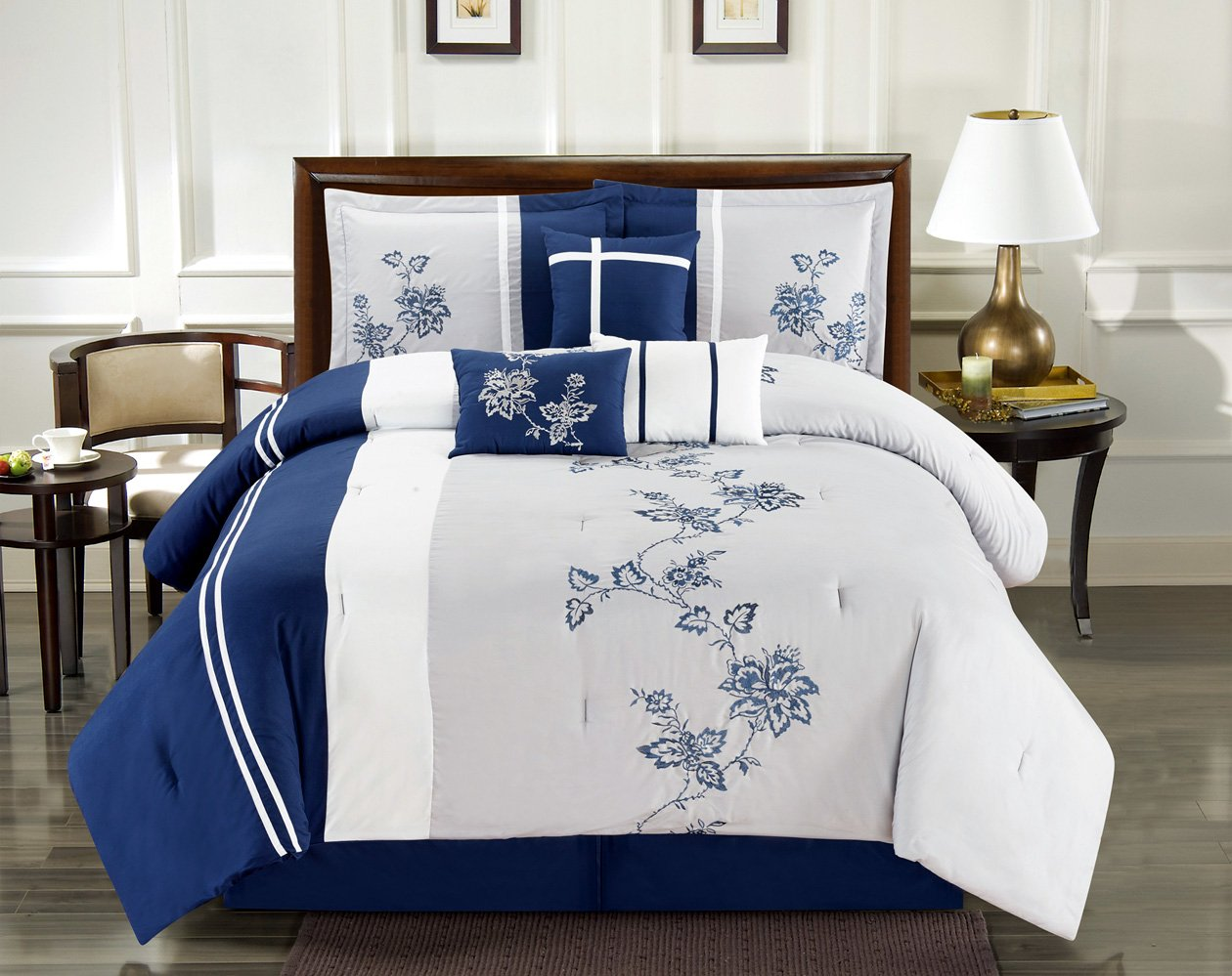 Blue and white bedding - Modern 7 Piece King Bedding Navy Blue Grey White Striped And Floral Embroidered Comforter