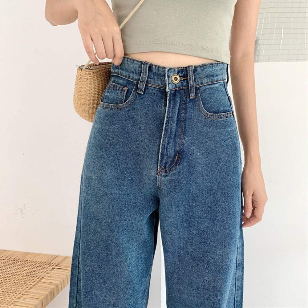 Coreano 2020 Primavera Autunno Nuove Donne Solido Moda Vita Alta Sciolto Casual Morbido Gamba Larga Jeans Donna Pantaloni Jeans