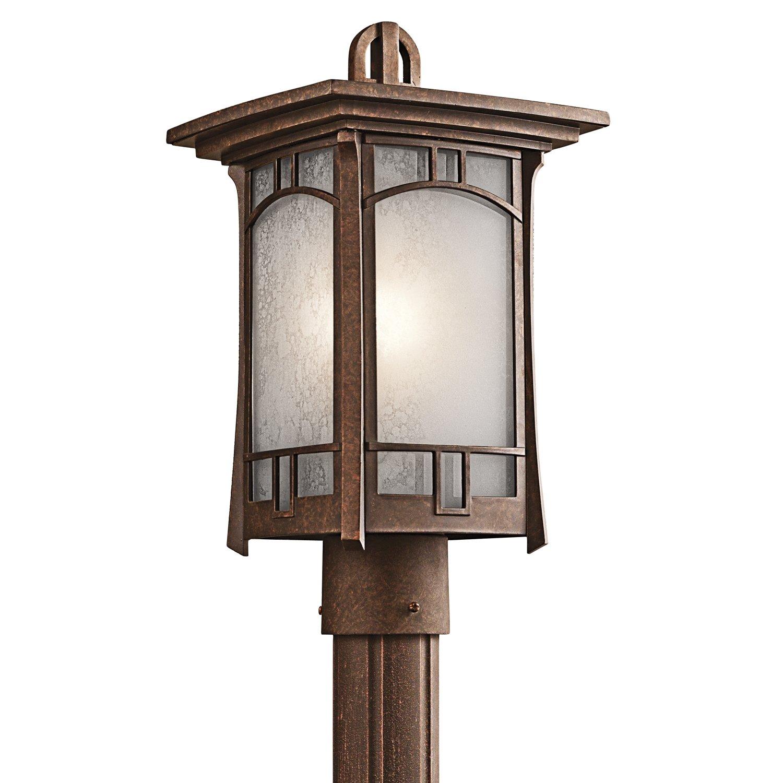 Kichler Lighting 49453AGZ Soria 1-Light Post Mount Lantern, Aged Bronze Finish with Vetro Mica Glass