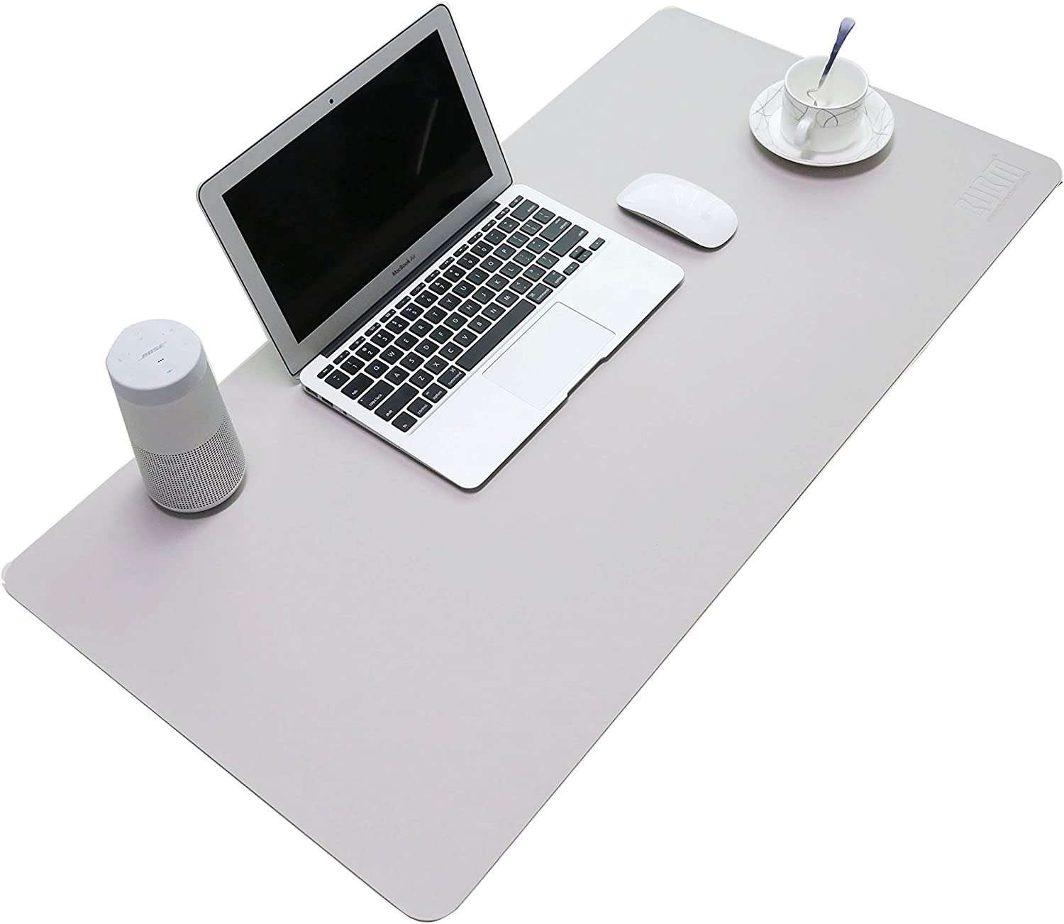 """BUBM PU Leather Mouse Pad Mat Waterproof, Perfect Desk Writing Mat for Office and Home,Ultra Thin 2mm - 31.5""""x15.8"""" (Gray)"""
