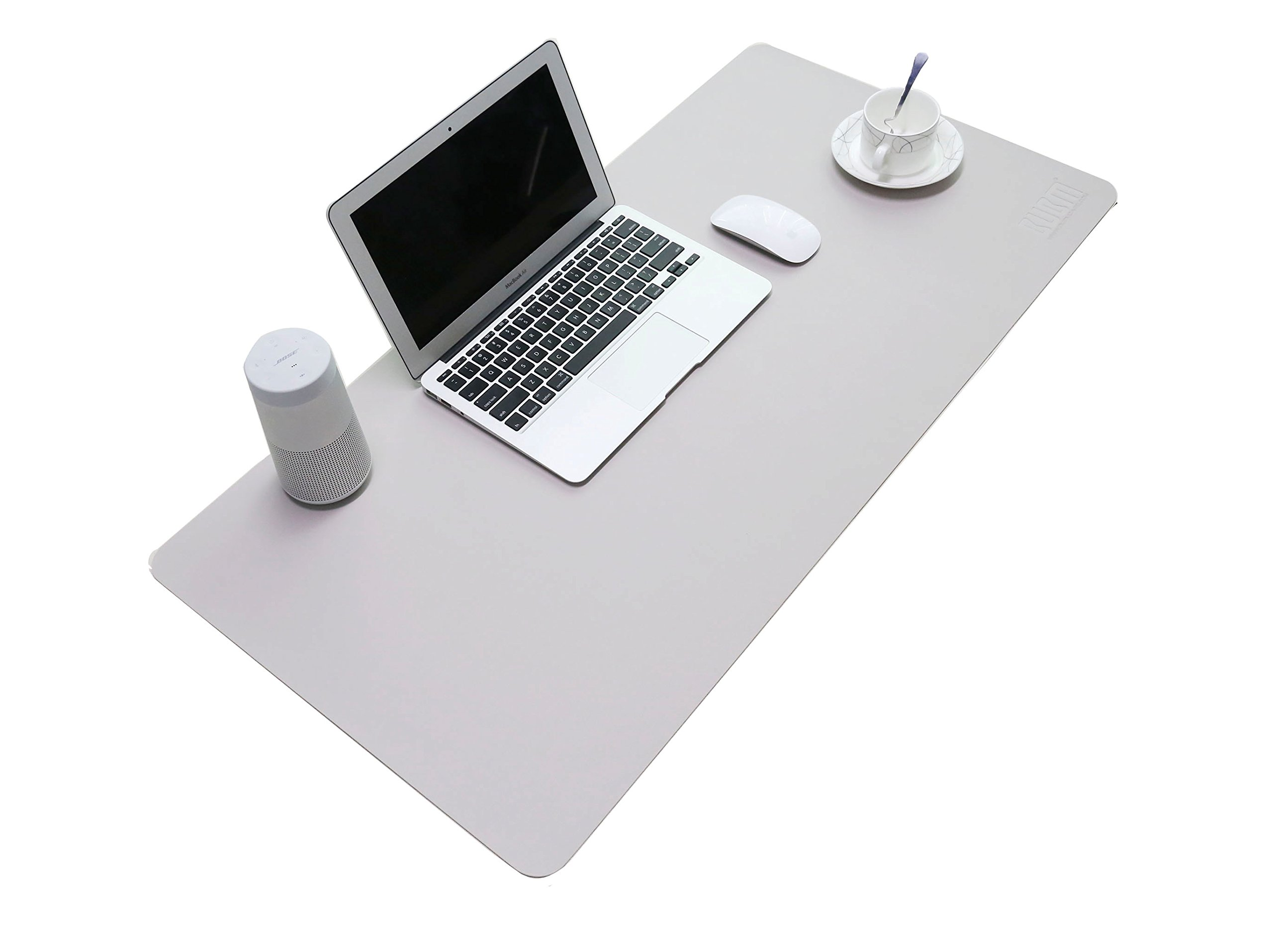 BUBM PU Leather Mouse Pad Mat Waterproof, Perfect Desk Writing Mat for Office and Home,Ultra Thin 2mm - 31.5''x15.8'' (Gray)