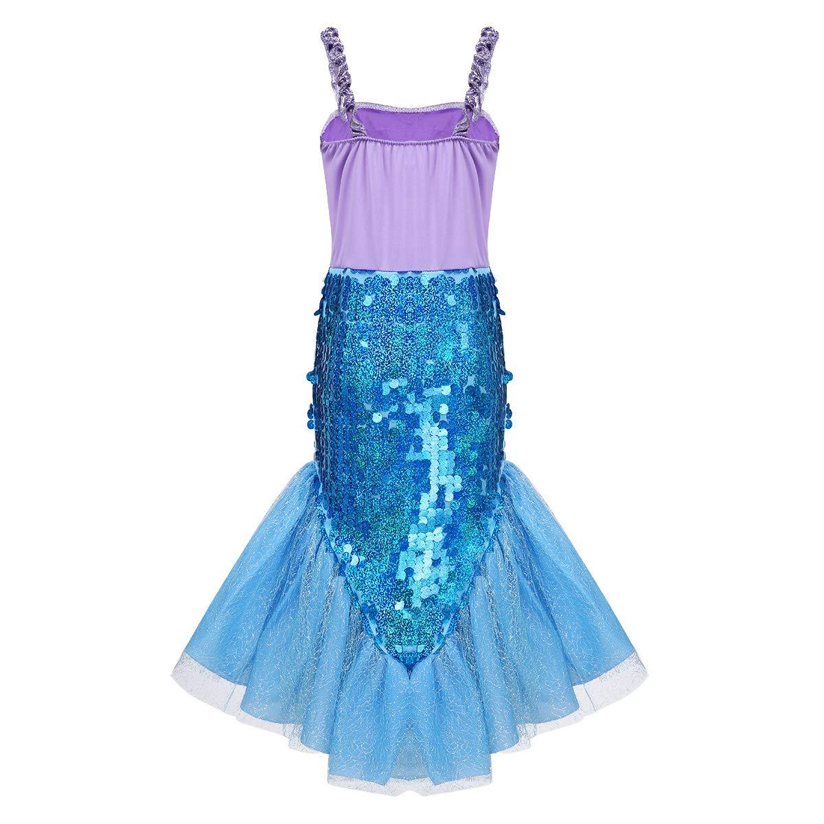 TiaoBug Disfraz Sirena Niña Halloween Carnaval Cosplay Vestido de ...