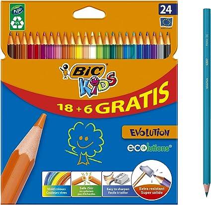 BIC Kids Evolution ECOlutions Lápices para Colorear - colores Surtidos, Blíster de 24 unidades: Amazon.es: Oficina y papelería