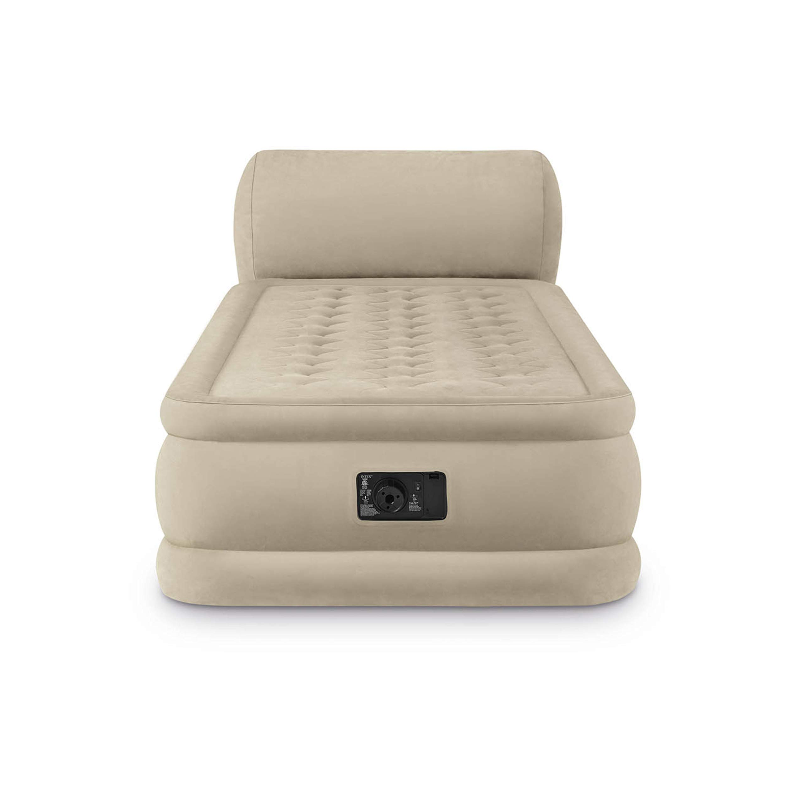 Air Mattress With Pump. This DuraBeam Ultra Plush Headboard Blow Up Airbed With Built In Electric Pump For Adults Indoor Or Outdoor Use. Raised Inflatable Bed Is Best As Camping Or Guest Bed Twin 31''