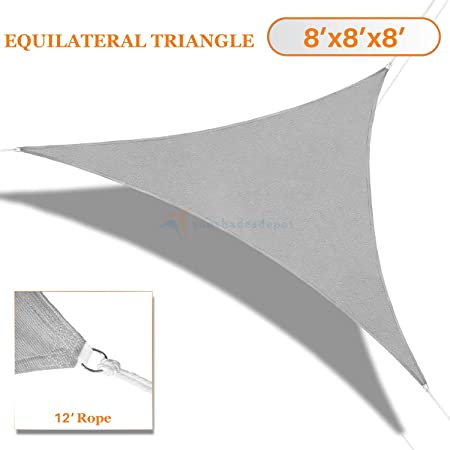 Sunshades Depot 8 x 8 x 8 Light Grey Sun Shade Sail 180 GSM Equilateral Triangle Permeable Canopy Custom Commercial Standard