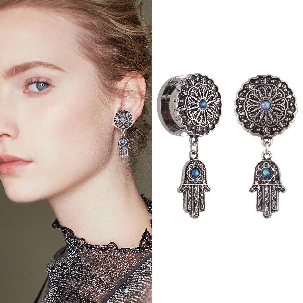 YIDULA Ear Gauges Dangle Plugs Tunnels for Ears Stainless Steel Flesh Piercing Jewelry Pendant 00g 10mm