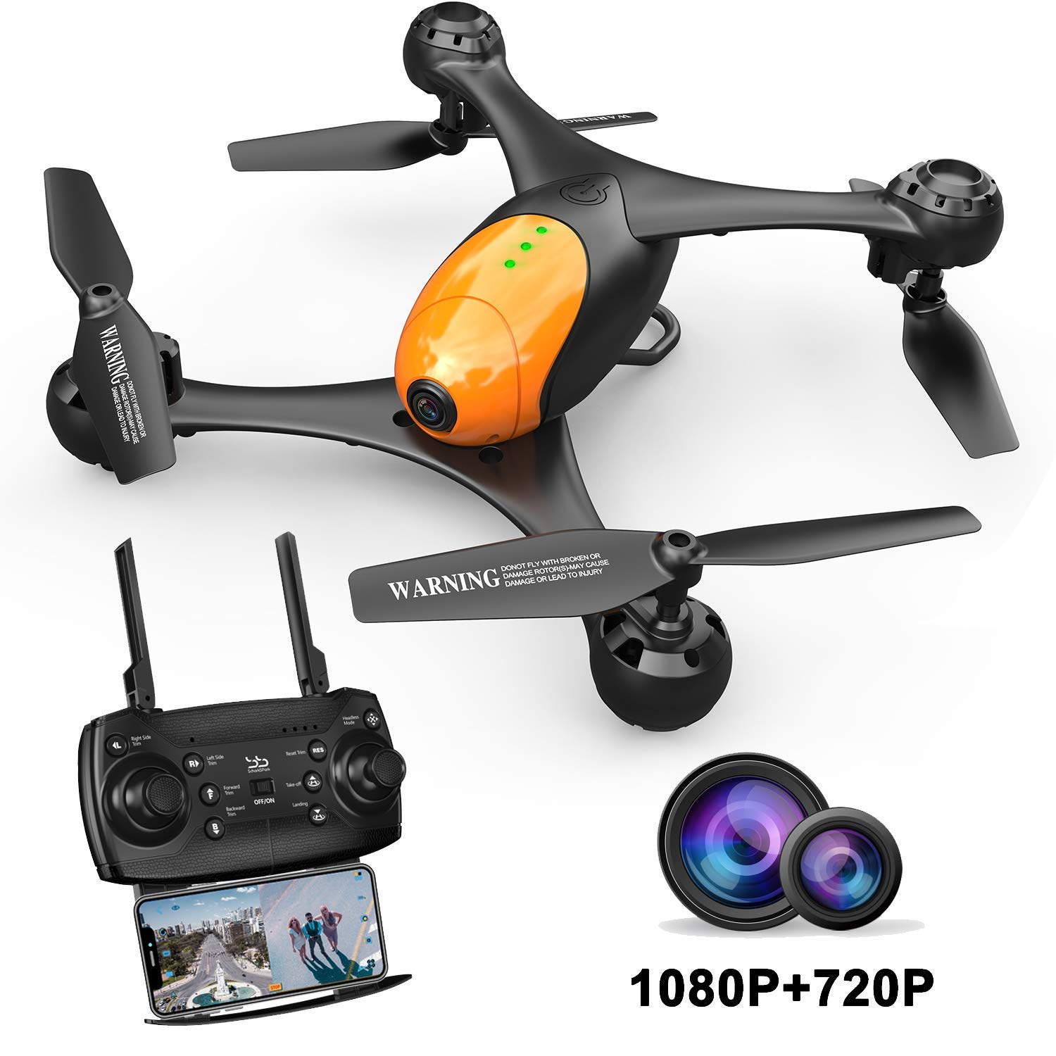 ScharkSpark SS41 Drone with 2 Cameras - 1080P FPV HD Camera/Video and 720P Optical Flow Positioning Camera, RC Toy Quadcopter Equipped with Lost-Control Protection Technology,Altitude Hold by ScharkSpark