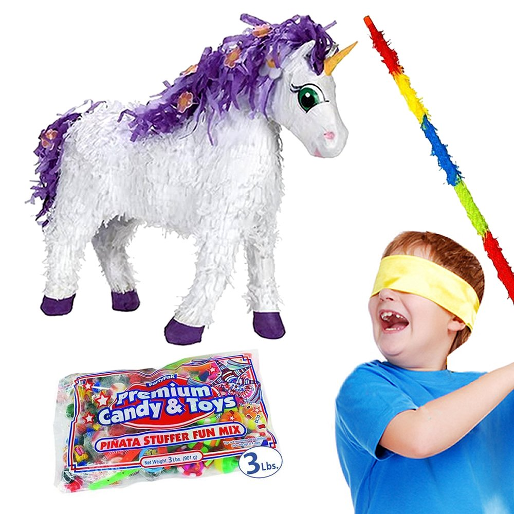 Pinatas Fairytale Unicorn Kit Including, Buster Stick, Bandana, 3 lb Toy and Candy Filler by Pinatas (Image #2)