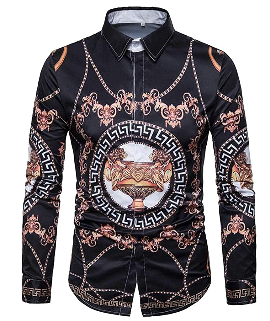 YYear Men Long Sleeve Button Up Club Digital Print Dress Work Shirt